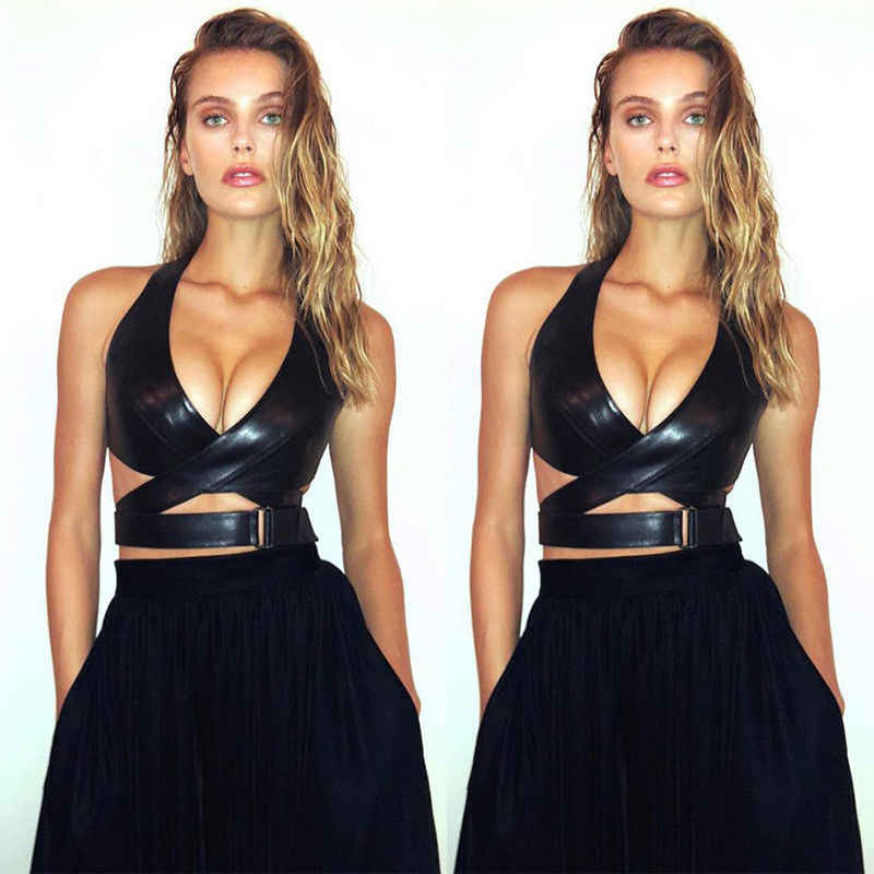 Women PU Leather Bralette Vest Crop Top Ladies Deep V-neck Cut-Out Party Club Evening Black Tank Tops
