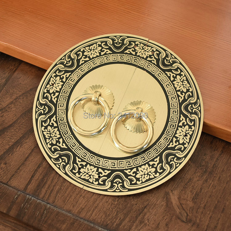 Furniture Chinese Antique Furniture Hardware Accessories Round Brass Handles Knobs Cupboard Wooden Box Door Cabinet Pulls Handle 1 Set Activating Blood Circulation And Strengthening Sinews And Bones