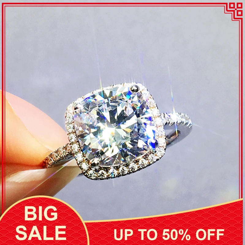 Fine Promise ring 925 Silver Cushion cut AAAAA cz Wedding Band Rings for women