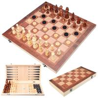 38.5x38.5x4cm Wooden Chess Board Set Folding Travel Games Chess Backgammon Draught Large Chessmen Entertainment Chess Game Board