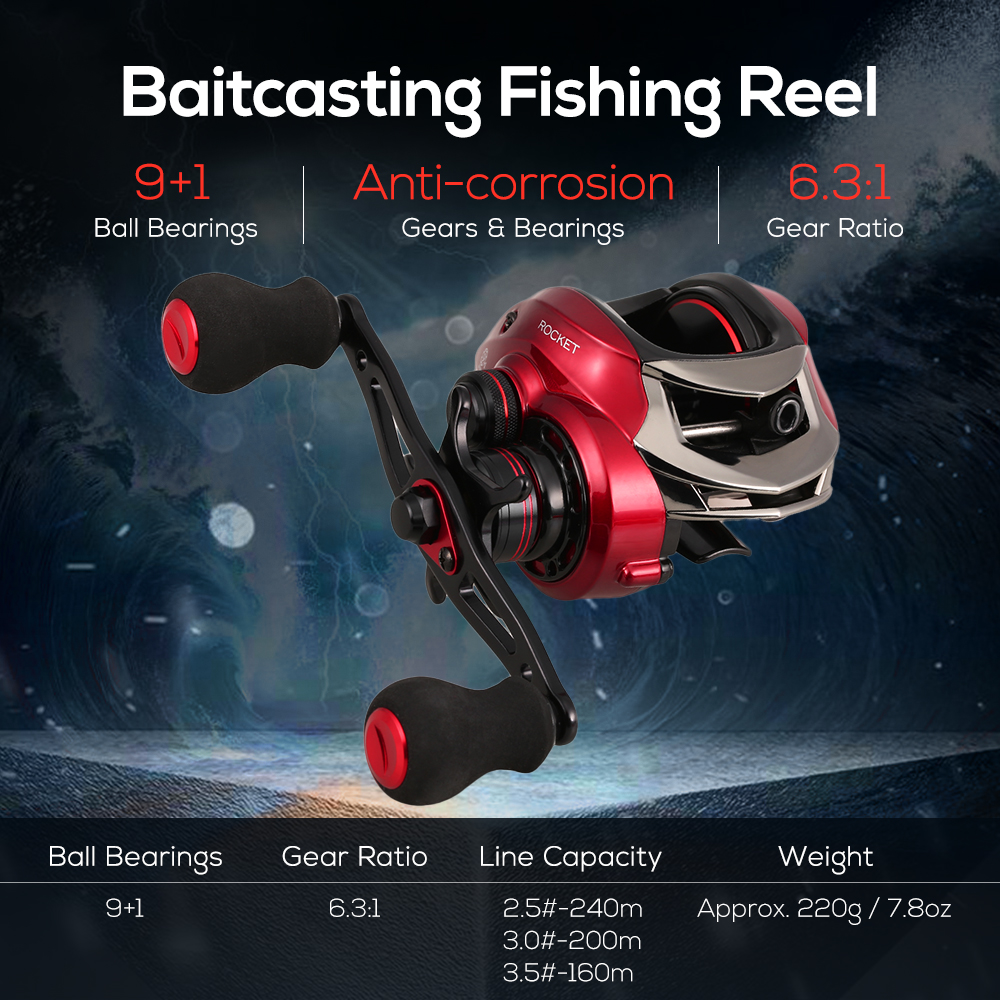 Fishing Reels 9+1 BB 6.3:1 High Speed Baitcasting Reel 8KG Max Drag Power Fishing Reel Carp Fishing Reel Tackle image
