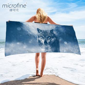 Szybkoschnący ręcznik plażowy 70x140cm lekki ręcznik kąpielowy z mikrofibry Gym Travel Sauna mata do jogi koc zewnętrzny ręcznik anty piasek tanie i dobre opinie microfine Tibetan wolf beach towel Tkanina z mikrofibry 300g 5 s-10 s Można prać w pralce Quick-dry Sprężone Dzianiny