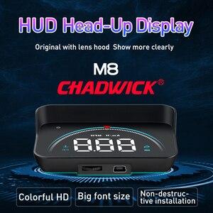 Image 3 - Carro hud cabeça up display de condução dados no pára brisa dianteiro chadwick m8 informações de condução instantaneamente velocidade, rpm, água temperat