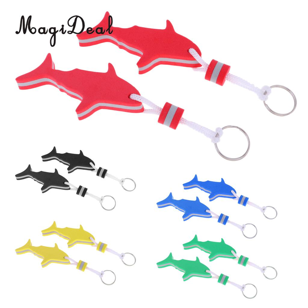 MagiDeal 2 Pieces Marine Shark Shaped EVA Floating Keychain Keyring Water Key Float For Radting Surfing Rowing Boat Accessories