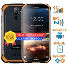 "Doogee s40 4g 견고한 스마트 폰 안드로이드 9.0 5.5 ""4650 mah 쿼드 코어 휴대 전화 2 gb + 16 gb 8.0mp 지문 nfc ip68 휴대 전화"