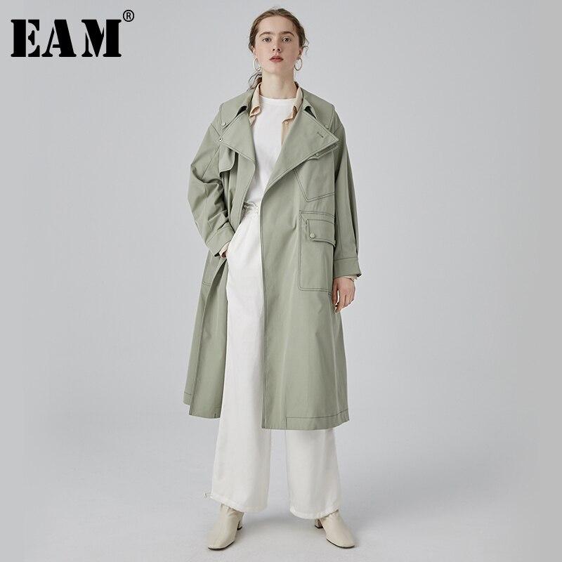 [EAM] 2019 New Spring Summer Lapel Long Sleeve Green Pocket Split Joint Big Size Long Windbreaker Women   Trench   Fashion JQ637