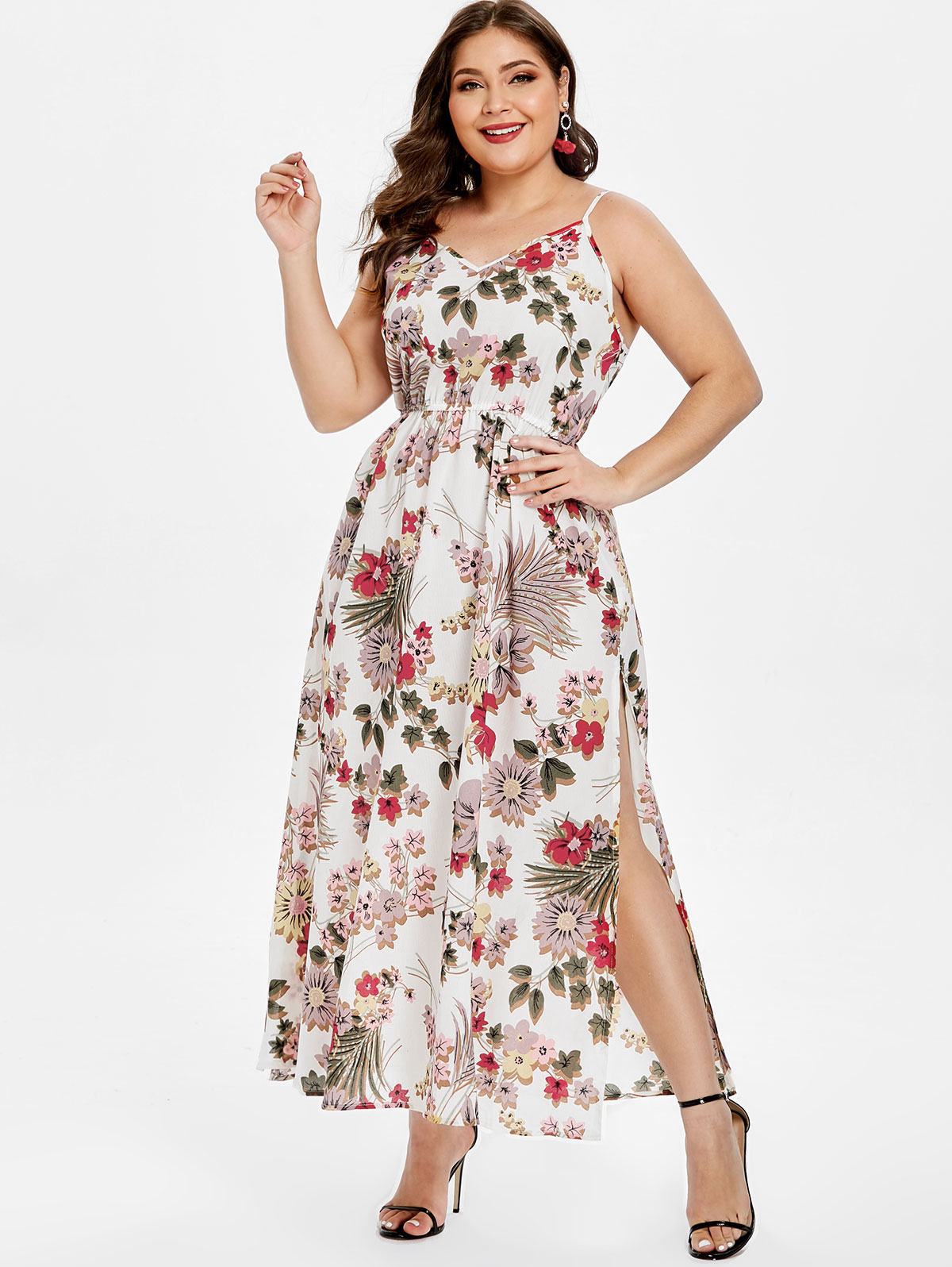 f6e21c4617d Wipalo Women Summer Plus Size Floral Print Belted Slip Dress Spaghetti Strap  Backless Casual Maxi Dress