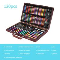 116pieces Children Painting Set Drawing Tool Brush Elementary Water Color Pen Art Markers Learning Supplies Drawing Wood Box Set