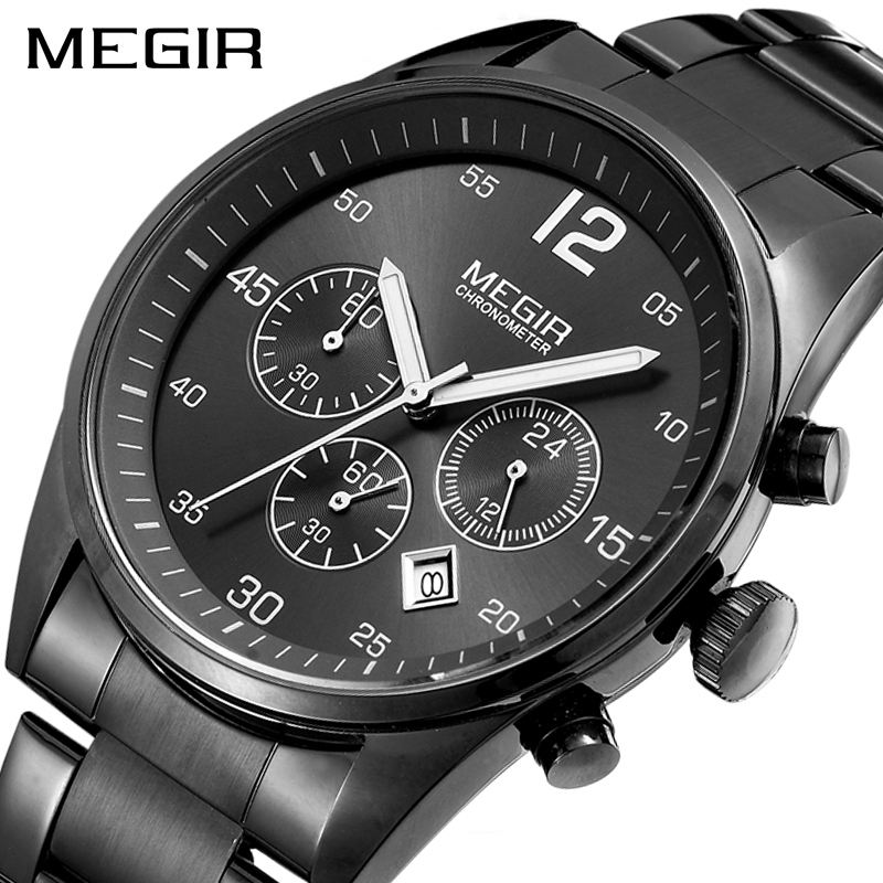 MEGIR Top Brand Men Watch Fashion Chronograph Military Quartz Watches Stainless Steel Business Wrist Watch Relogio Masculino
