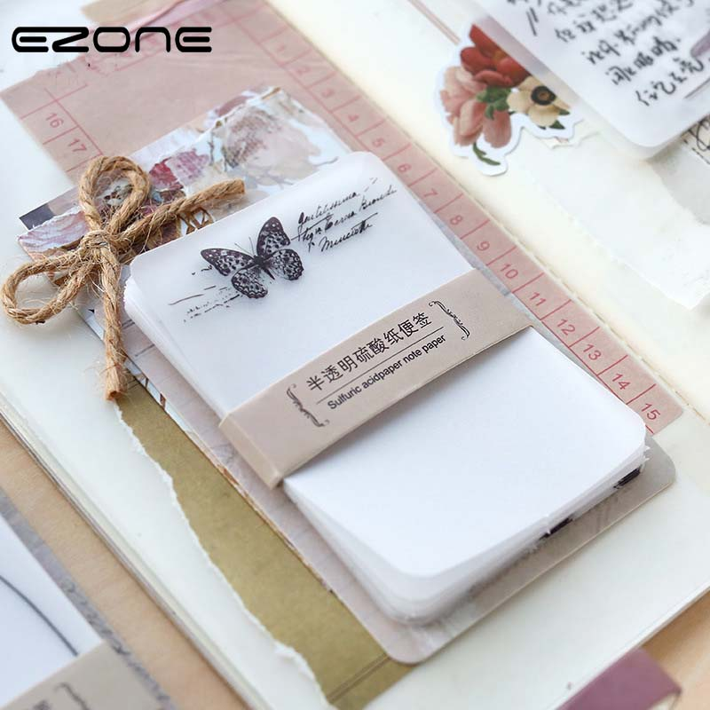 EZONE Sticky Note Translucent Vegetable Parchment Memo Pad Mushroom/Dragonfly/Butterfly/Flower Pattern School Office Supply
