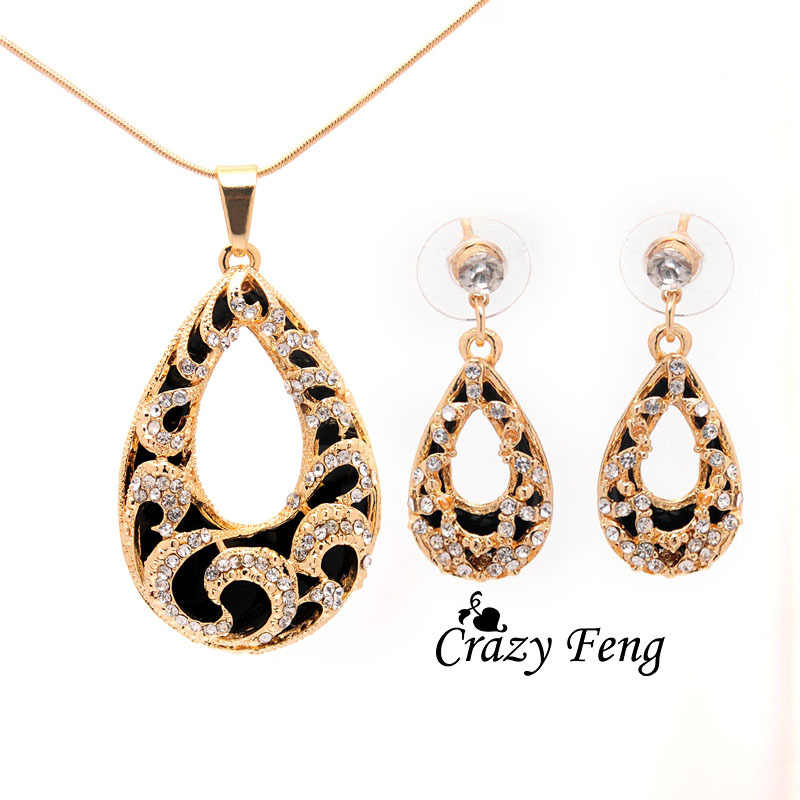 Crazy Feng Women's 2 Colors  Austrian Crystal Water Drop Pendant Chain Necklace + Earrings Jewelry Sets Free shipping