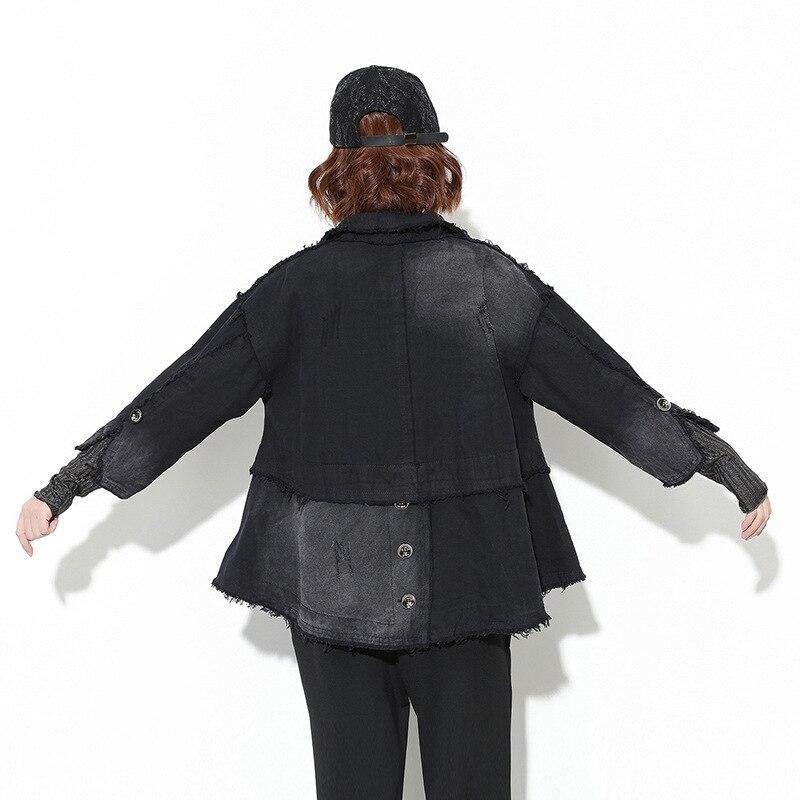 Automne Noir 1013 Manteau Veste Marque vent Coupe Lâche Femmes Gland Denim Patchwork Personnalité Printemps Streetwear Asymétrique pHqHF5