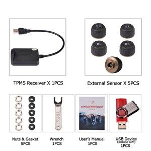 Image 4 - 5 PCS חיישן USB אנדרואיד TPMS צמיג לחץ צג/אנדרואיד ניווט צמיג לחץ ניטור אזעקה מערכת תמיכה חילוף צמיג
