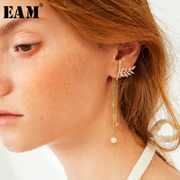 WKOUD EAM Jewelry / 2019 New Fashion Temperament Rhinestone Peace Dove Branch Tassel Earrings Women's Accessories S#R1520
