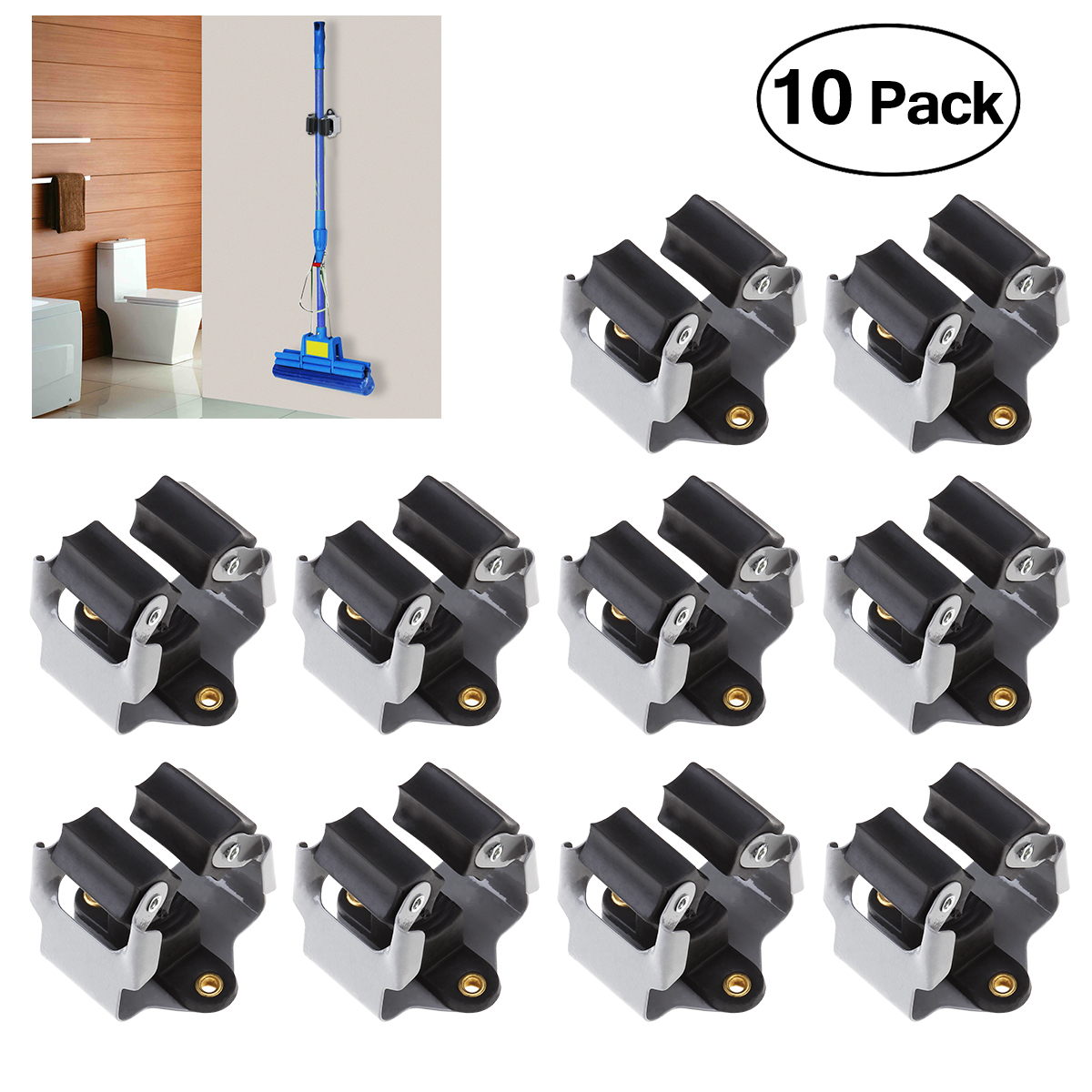 PIXNOR 10PCS Broom Hanger Mop And Broom Holder Broom Organizer Grip Clips Wall Mounted Garden Storage Rack With Screws (Black)
