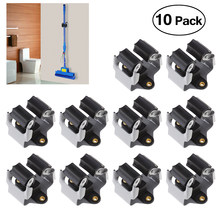PIXNOR 10PCS Broom Hanger Mop and Broom Holder Broom Organizer Grip Clips Wall Mounted Garden Storage Rack with Screws (Black)(China)
