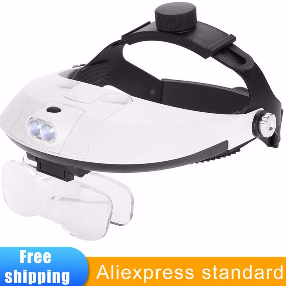 Headband Headset Head Mounted Magnifier With LED Lamp Light Jeweler Watch Repair Helmet Magnifier Magnifying Glass Loupe 5 lensHeadband Headset Head Mounted Magnifier With LED Lamp Light Jeweler Watch Repair Helmet Magnifier Magnifying Glass Loupe 5 lens