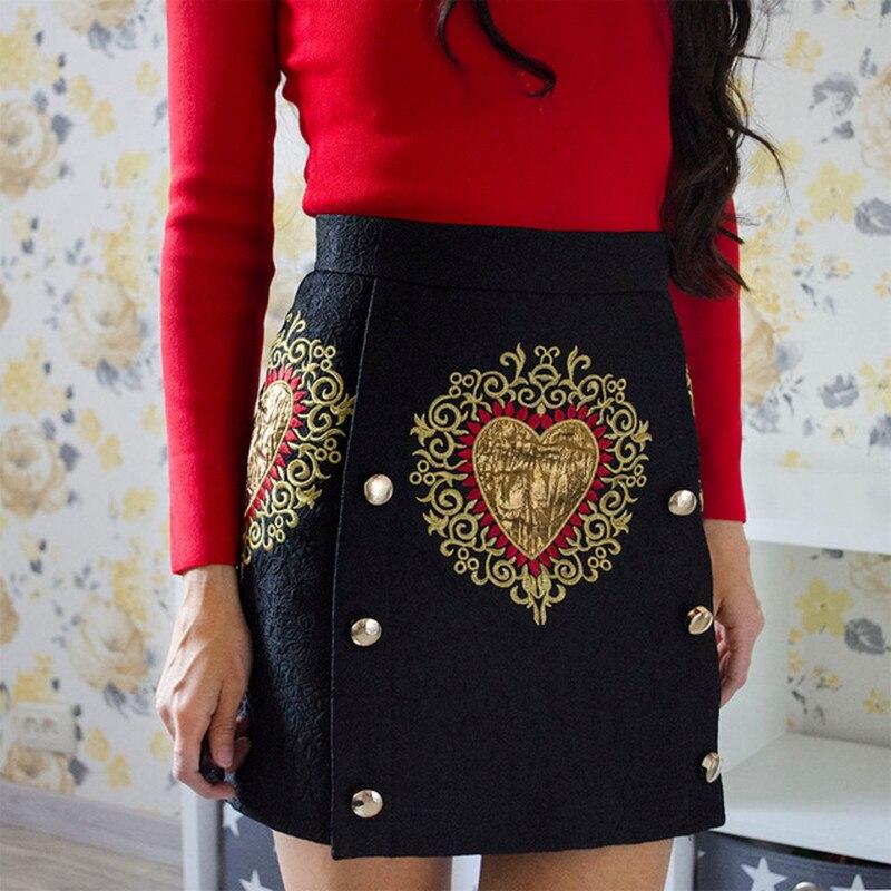 Vintage noir coeur Floral broderie taille haute jupe 2019 printemps femmes piste Designer Jacquard Mini jupes avec boutons