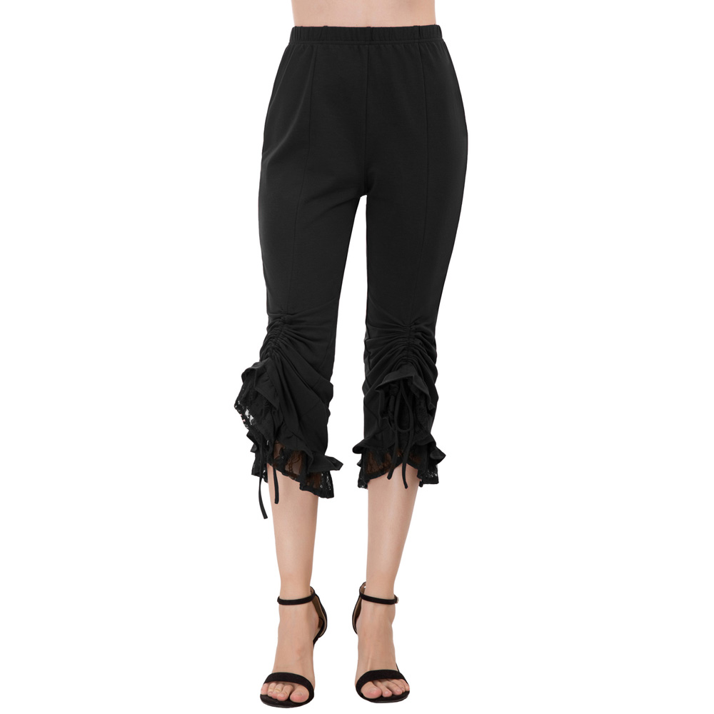 black/wine vintage Women trousers autumn Steampunk Gothic Elastic high Waist Lace Decorated Ruching   Capri     Pants   pantalon femme