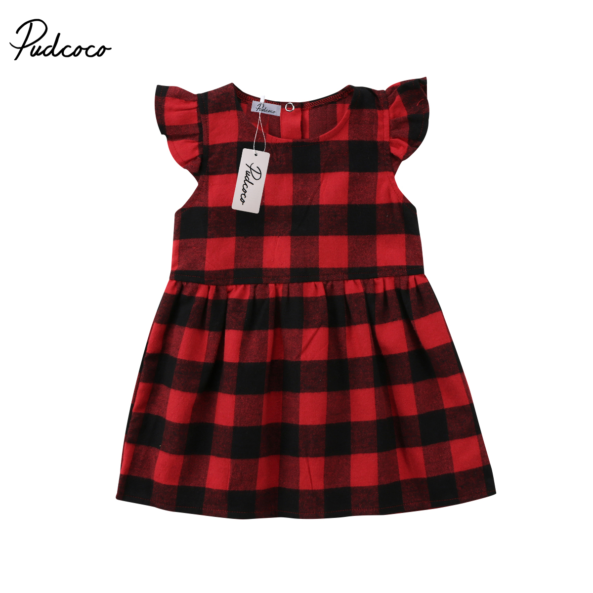 0-3T Christmas Toddler Baby Girls Plaids Dress Pageant Party Casual Dresses Clothes
