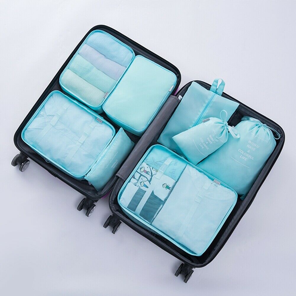 8Pcs Clothes Underwear Socks Packing Travel Luggage Organizer Bag Cube Storage
