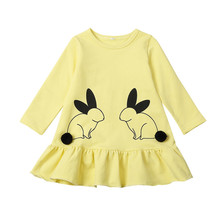 hot deal buy baby dresses long sleeve cartoon rabbit pattern baby girls clothes spring princess girls dress kids clothes children party dress