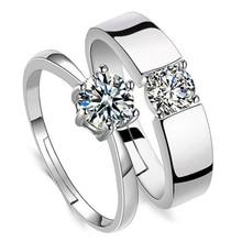 Регулируемые хрустальные парные кольца, набор для женщин, серебряное кольцо для пар, свадебные кольца, набор для мужчин и женщин, кольцо для помолвки
