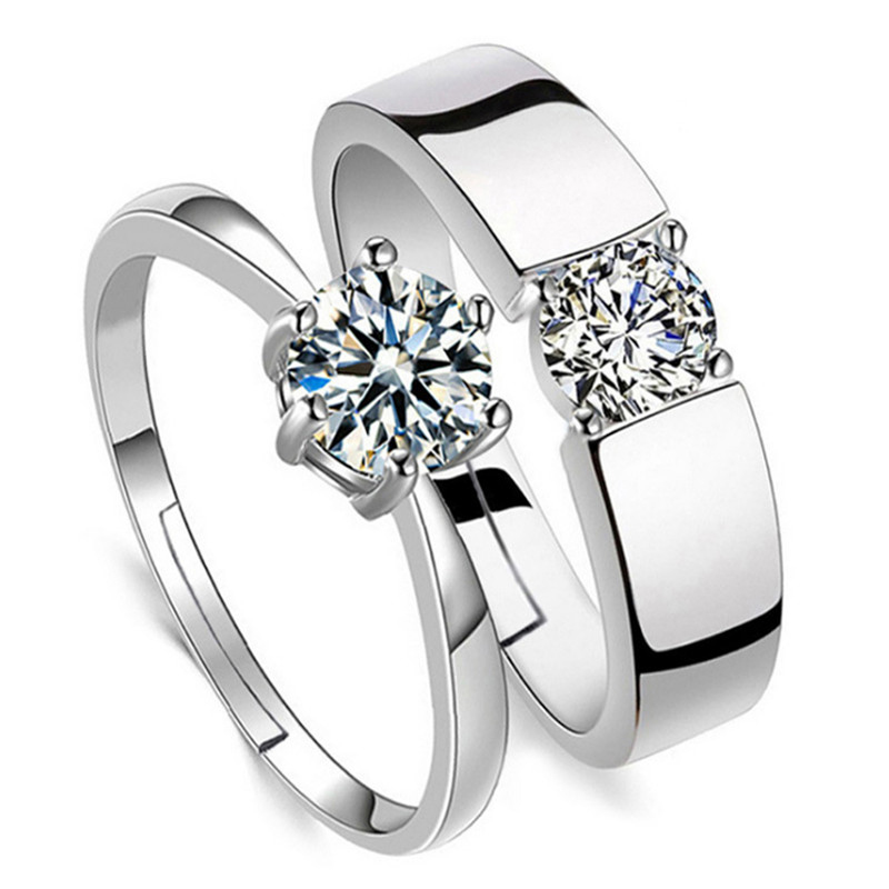 Регулируемый хрустальные парные кольца комплект для Для женщин серебряного кольцо для пары обручальные кольца набор для мужчин Для женщин ...