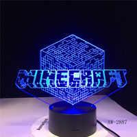 Minecraft jeu Hihecraft entourant personnage Prototype 3D lampe à LED Plug in lampe 7 couleurs décor à la maison livraison directe AW-2887