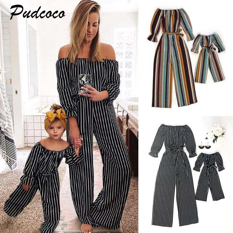2019 Brand New Women Girl Jumpsuit Mother Daughter Fashion Clothes Family Matching Long Sleeve Stripe Sashes Bow Playsuit Outfit girl
