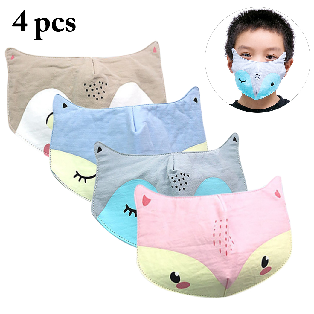 4pcs Kids Mouth Masks Cartoon Cute Breathable Anti-dust Masks Cotton Half Mouth Mask Anti-bacterial Dust Winter Warm Masks
