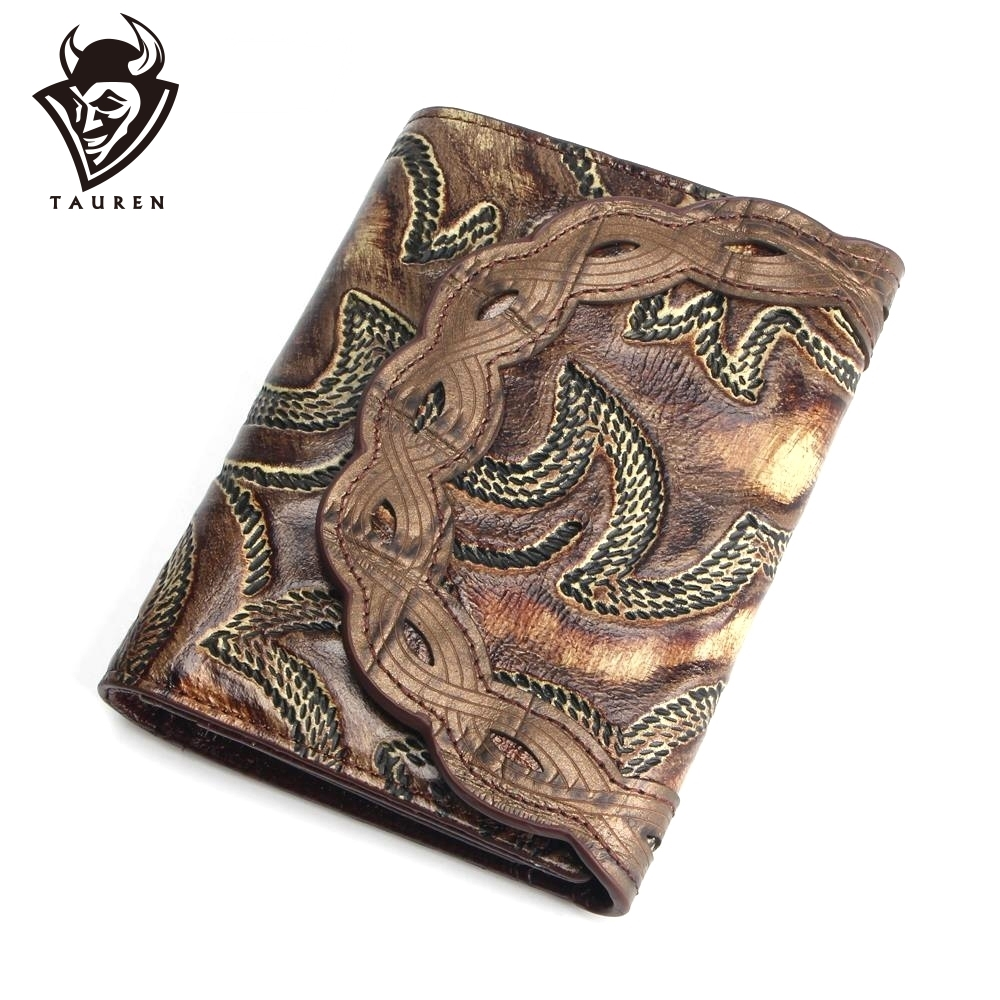 Vintage Women Leather Hot Selling Genuine Leather Wallet Women  Around Purse Flower Pattern Lady Wallets Bags Handbags,