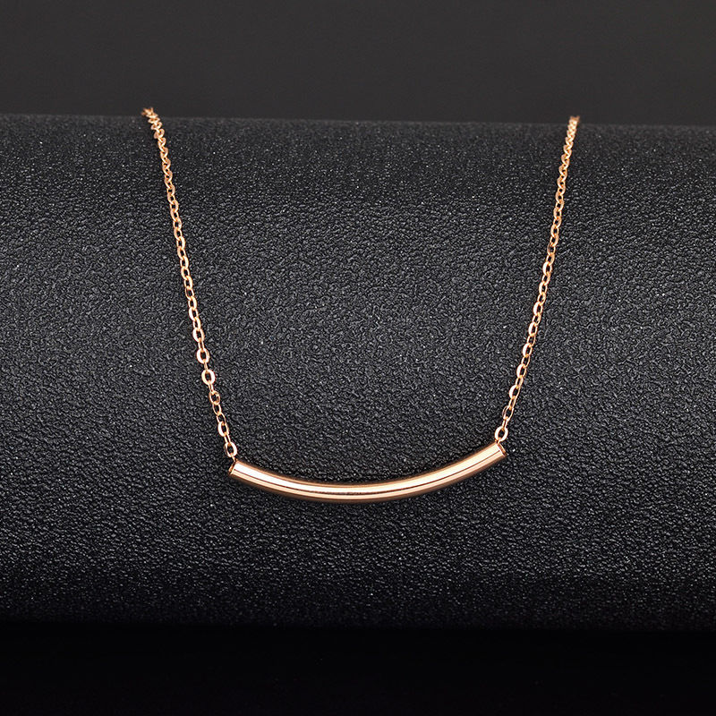 FINE 18 INCH Solid 18K Rose Gold Necklace O Link Chain with Tube Necklace