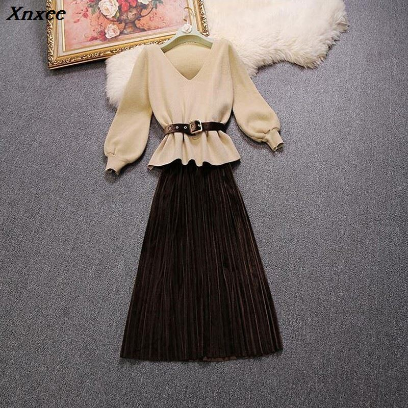 2019 autumn and winter new female V neck long sleeve knitted sweater strap velvet pleated long dress suit women two piece sets in Women 39 s Sets from Women 39 s Clothing