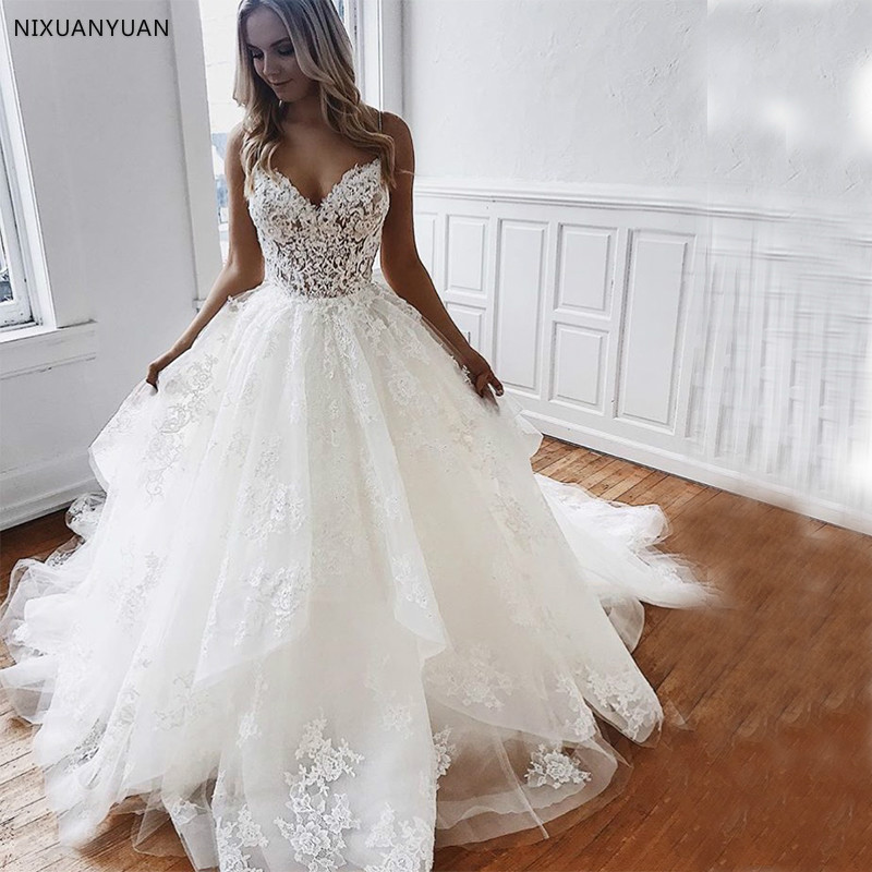 New Arrival Elegant Wedding Dresses Spaghetti Straps Bridal Gowns Appliques Beading Tiered Skirt Backless Vestidos De Novia 2019