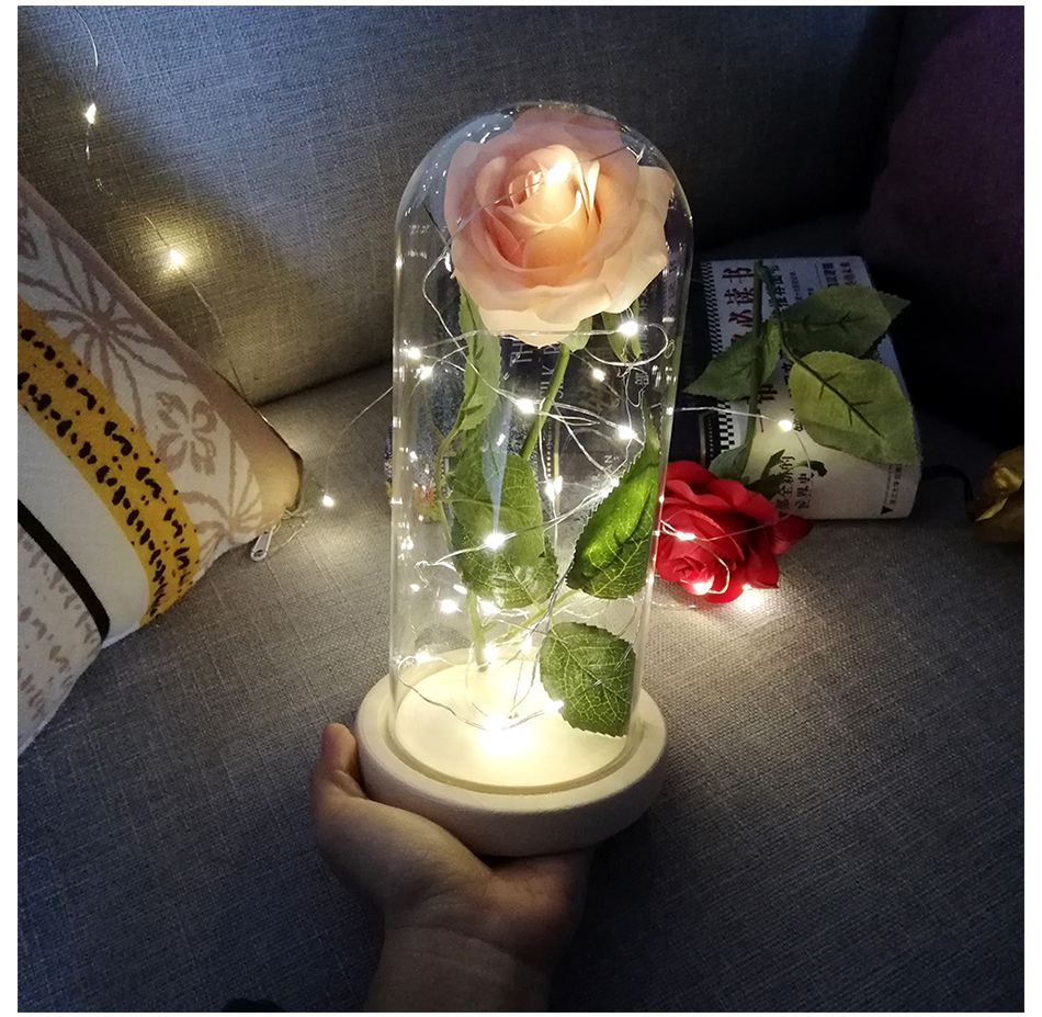 LED Flashing Luminous Artificial Preserved Rose Romantic <font><b>Decorative</b></font> Flower Wedding Valentine'S Day Gift For Lover Birthday image