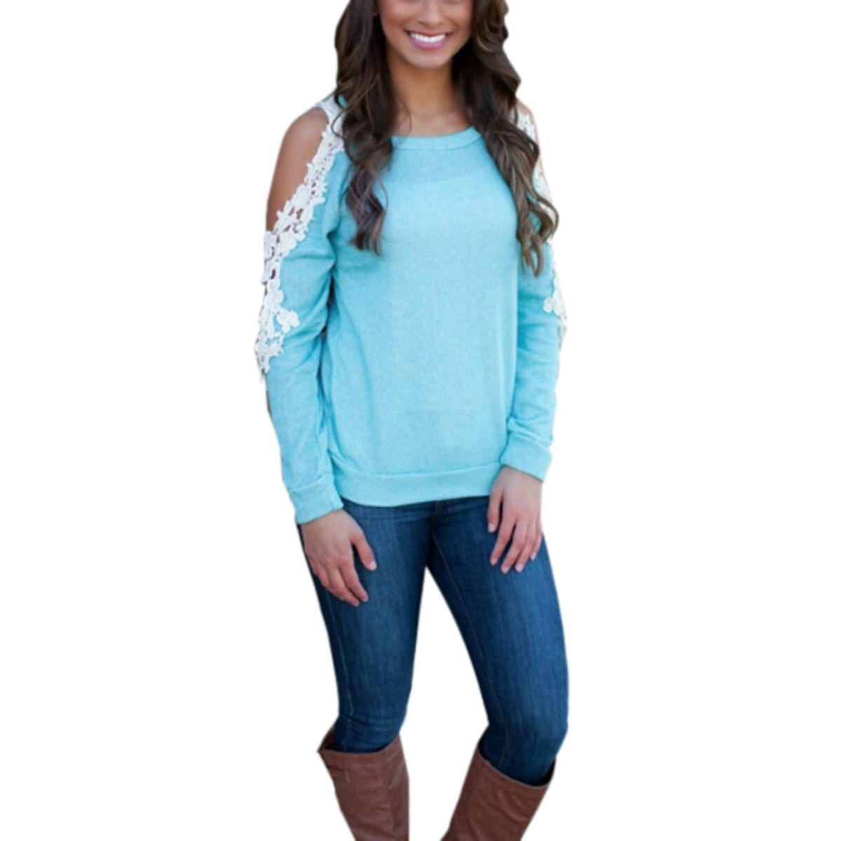 Women Sexy Lace Crochet T-Shirt Patchwork O-Neck Long Sleeve Tees Top ZANZEA Spring Off the Shoulder Hollow Out Casual T-Shirts