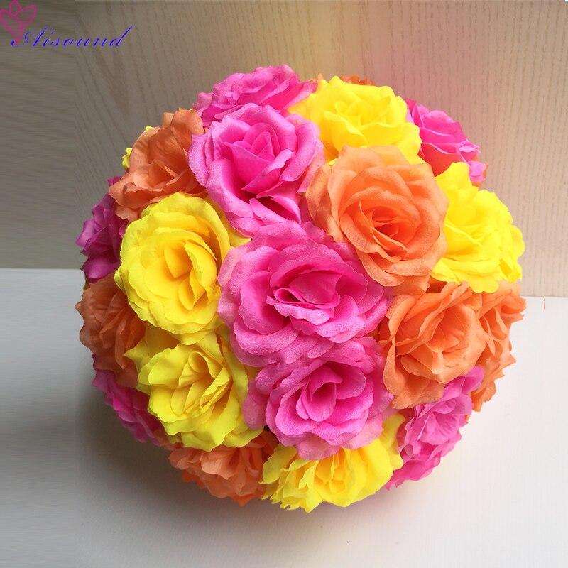 2pcs 30cm Artificial Silk Flower Ball For Wedding Table Centerpieces Event Party Supplies Hanging Pomander Decoration
