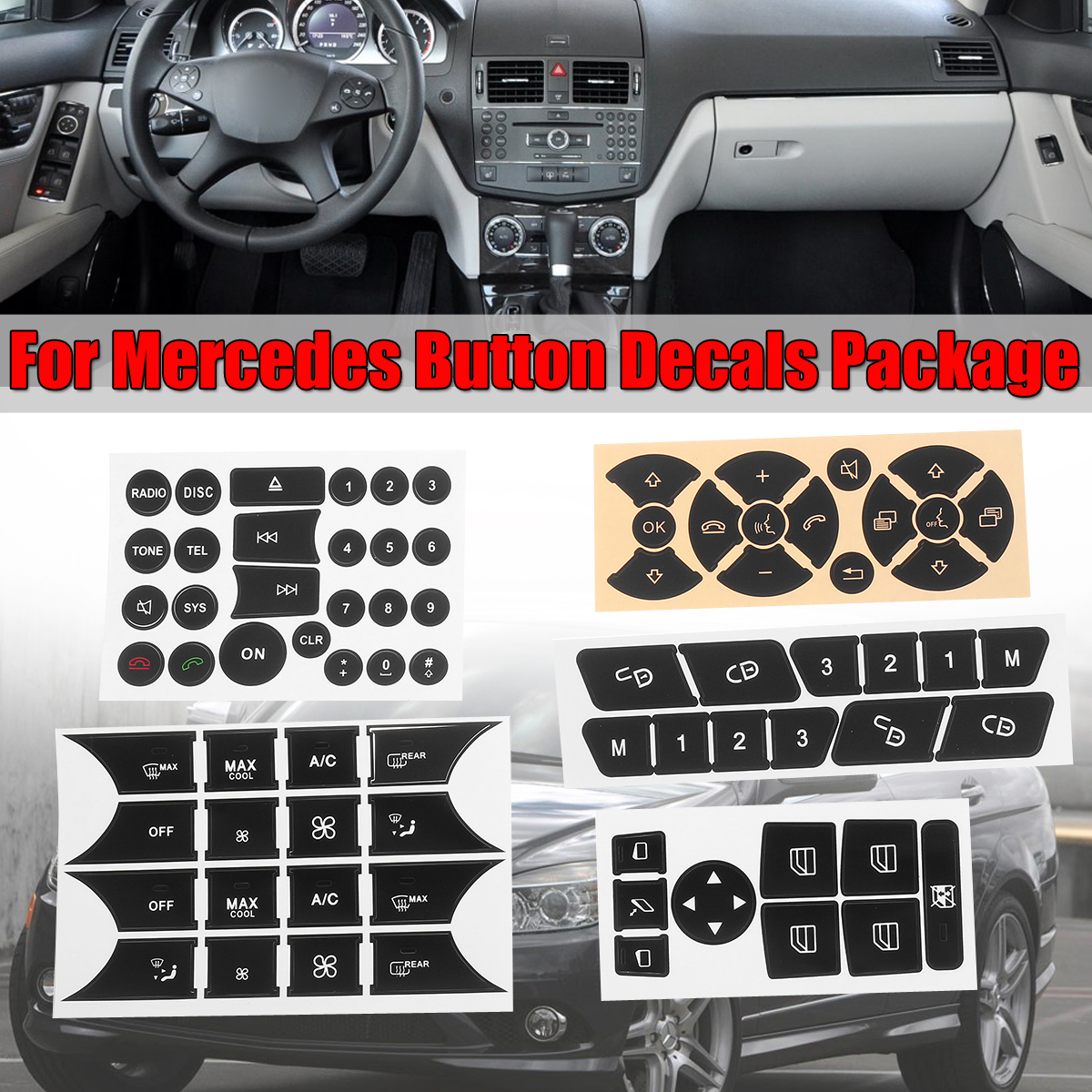 Car Button Repair Steering AC Door Lock Window Decals Stickers New For Mercedes For Benz 2007-2014 Button Repair Sticker Decal