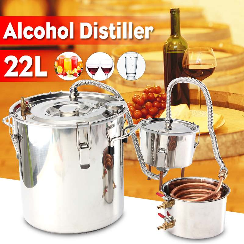 US $163 1 52% OFF|5 GAL/22L Copper Moonshine Ethanol Alcohol Water  Distiller Stainless Boiler Kitchen Brewing +Thumper keg+Condenser Keg-in  Distillers