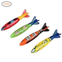4Pcs Shark Torpedo Rocket Throwing Toy Funny Toy Diving Torpedo Diving Toys Swimming Pool Underwater Games for Kids Dive Toys(China)