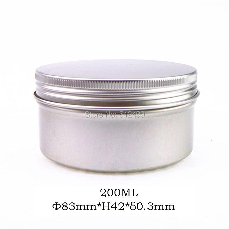 200g refillable box empty round aluminum metal tin cans bottle with lids 200ml cosmetic cream box DIY seal 83*42mm aluminum jar