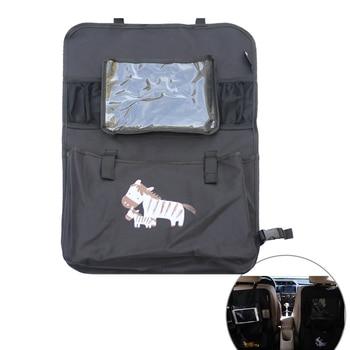 Car Seat Back Organizer Cartoon Patterned Multi-Pocket Auto Travel Storage Bag with Transparent Tablet Holder (Black Zebra) car backseat organizer