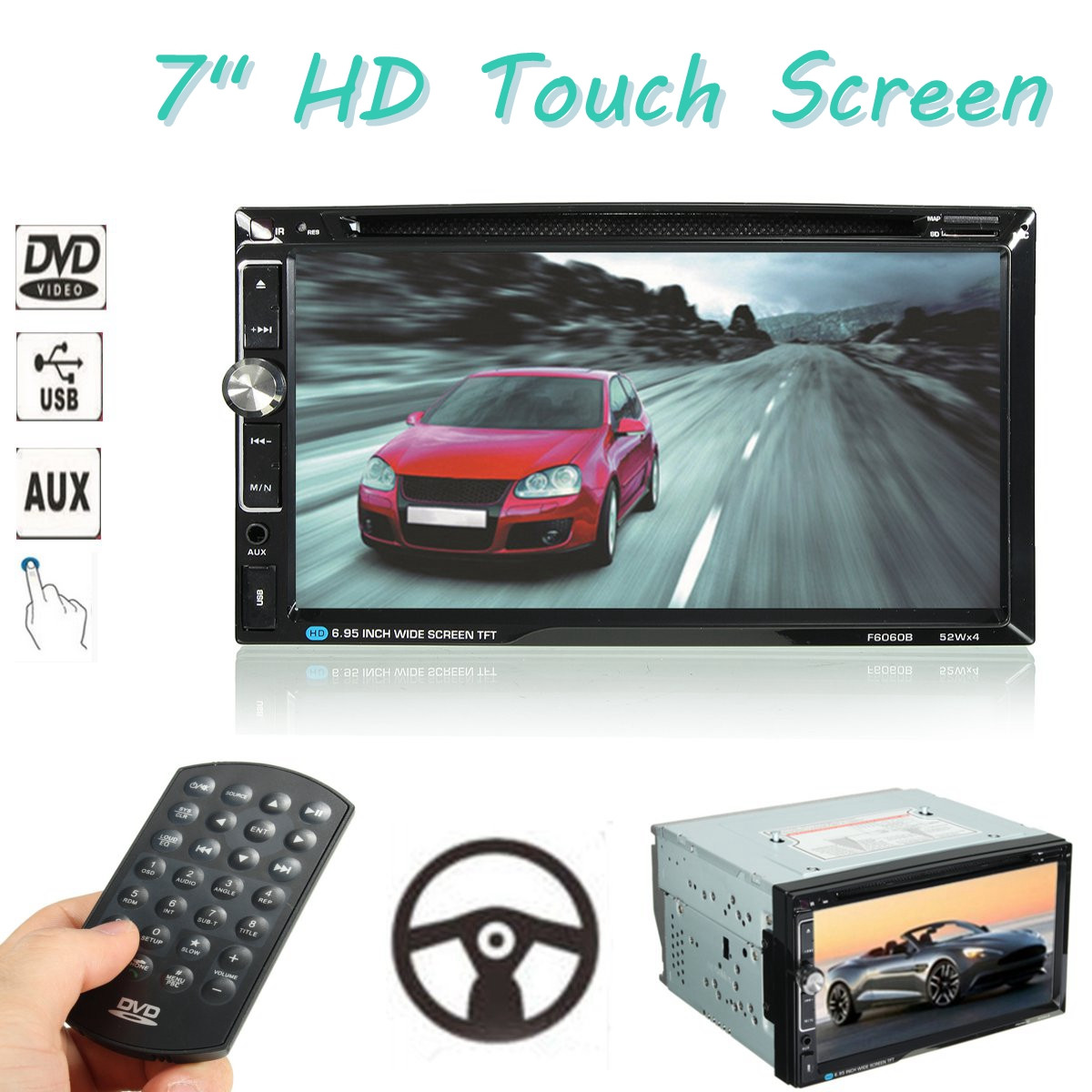 7 inch 2 Din 52W * 4 Universal Car Stereo DVD Radio Player bluetooth FM MP3 MP4 Radio Aux Entertainment Multimedia Player 7 inch 2 Din 52W * 4 Universal Car Stereo DVD Radio Player bluetooth FM MP3 MP4 Radio Aux Entertainment Multimedia Player