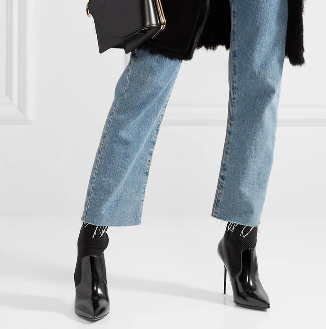 Dames Patchwork Femmes Glissent Sur Verni À Sexy Taille Cuir Cheville Bout Chaussette Pointu Hauts Noir Talons 2018 Mode 42 Bottes En Y0aqZgT