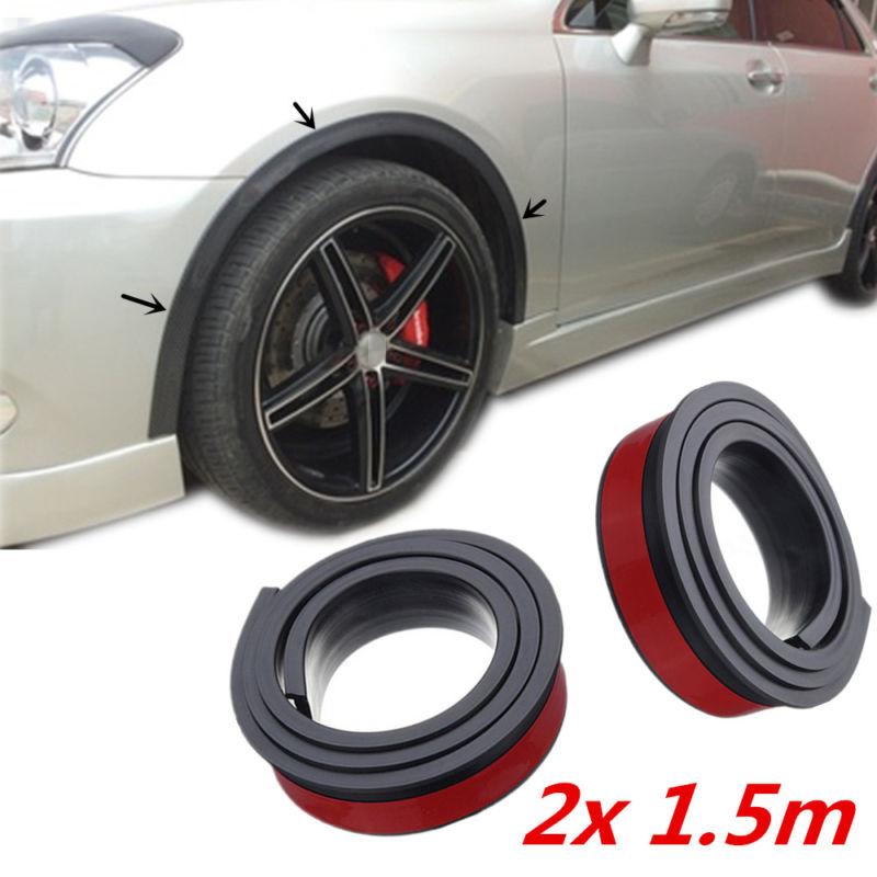 2 pièces 1.5 m universel caoutchouc voiture arc de roue Protection moulures Anti-collision garde-boue voiture roue Protection roue autocollant