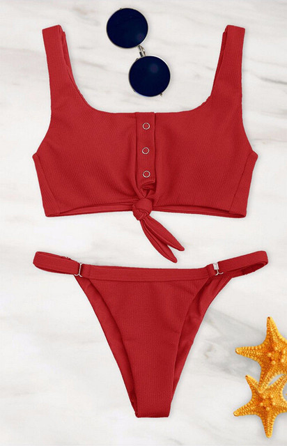 Women Bandage Ruffle Lace Up Bikini 2020 Solid Plaid Push-up Bikini Set Padded Bra Swimsuit Swimwear Bathing Suit Biquini Bather 6
