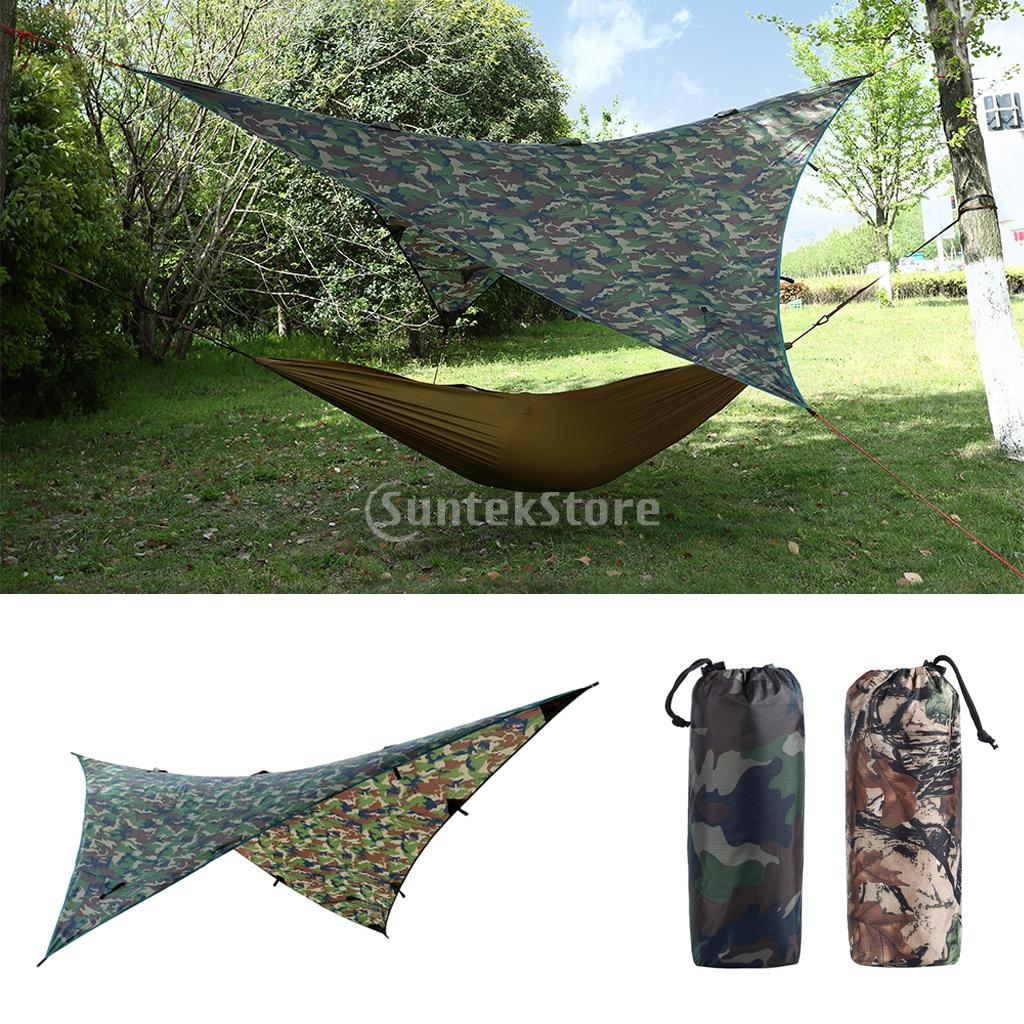 9x9ft Large Waterproof Sunshade Tent Rain Fly Tent Awning Canopy Tarp Hammock Shelter for Outdoor Camping