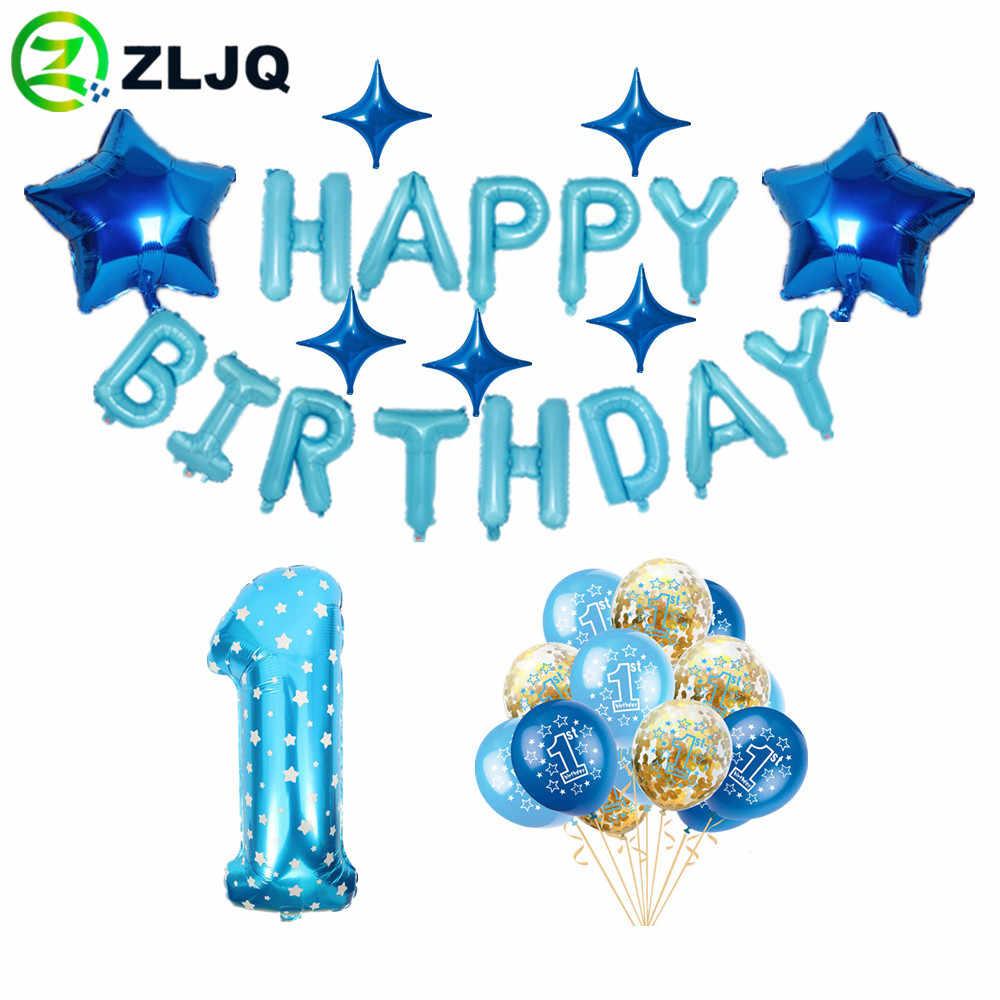 ZLJQ 1st happy birthday party ตกแต่งเด็กสีฟ้าตัวอักษร Happy Birthday ฟอยล์ balon confetti พิมพ์ 1 บอลลูน 5D