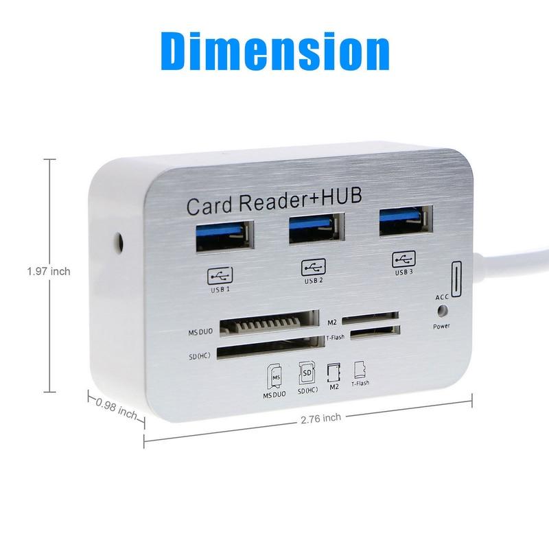 Nouveau Hub portatif en aluminium d'usb 3.0 3 ports avec le lecteur de carte de Multi-In-1 de MS SD M2 TF pour tous dans un accessoires d'ordinateur de PC